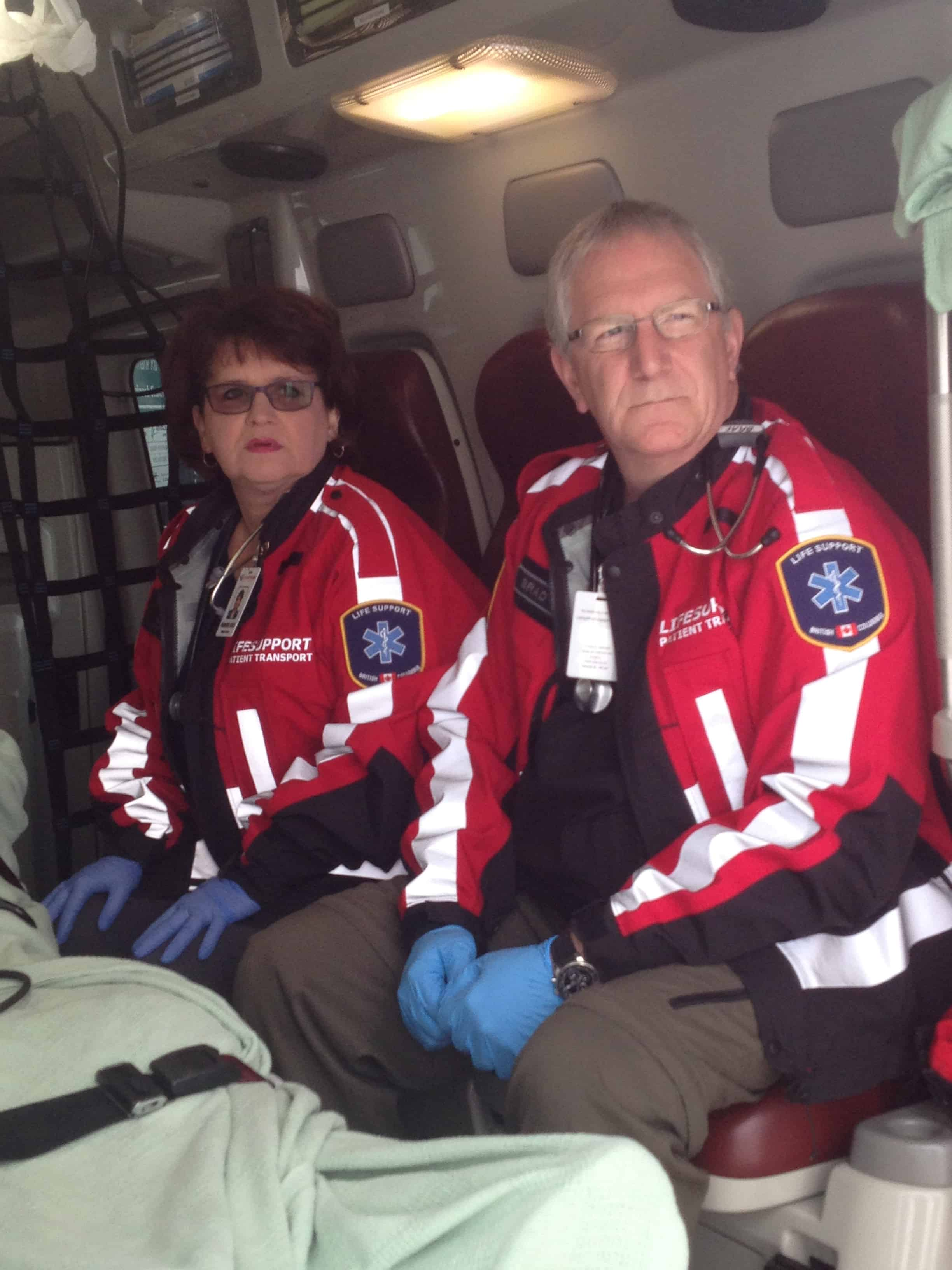 Male and female critical care transport staff