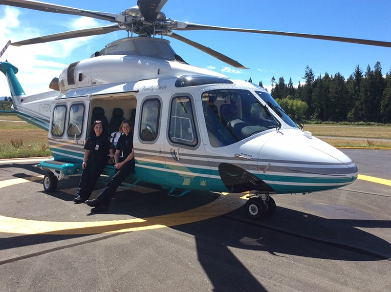 Lifesupport medical transport helicopter and staff