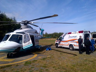 Helicopter and LIFESUPPORT ambulance