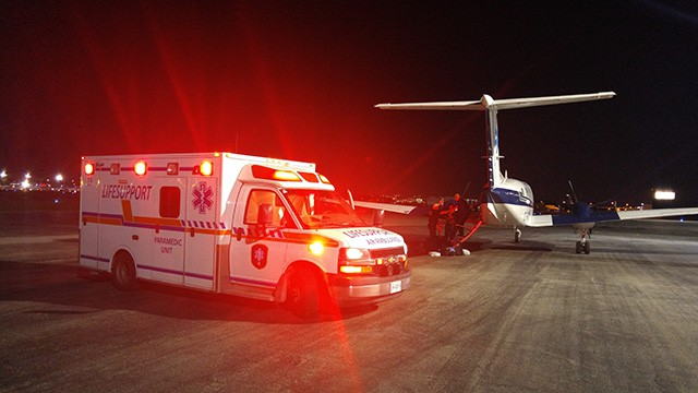LIFESUPPORT Air Ambulance Services paramedic unit on tarmac