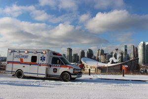 Ground Ambulance calgary Medic YYC-ambulance-in-front-saddledome